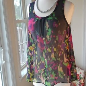 Apostrophe Sleeveless Colorful Tank Sheer Blouse